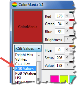 формат rgb в ColorMania